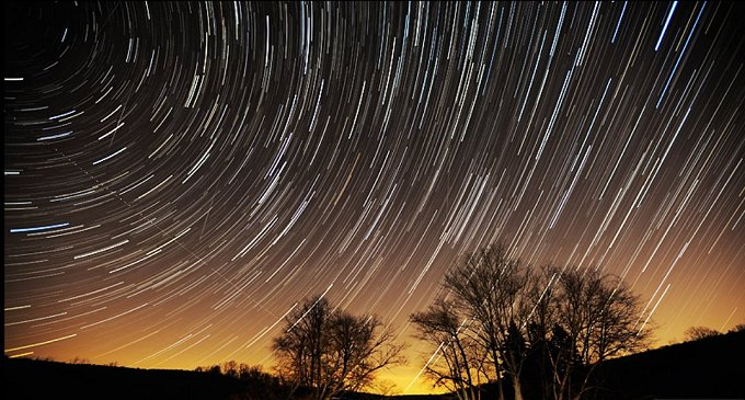 2013 Geminid meteor shower and star trails