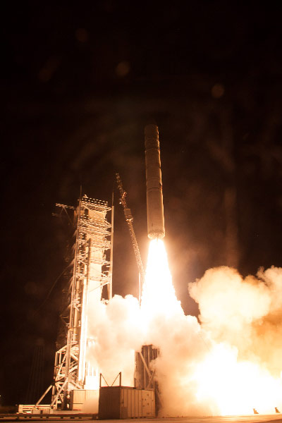 NASA's Lunar Atmosphere and Dust Environment Explorer (LADEE) spacecraft lit up the Eastern Seaboard when it was successfully launched onboard a Minotaur V rocket, developed by Orbital Sciences Inc.