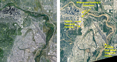 This image shows Calgary before and after the devastating floods of June 22. The venue for the famous annual rodeo and exhibition known as the Calgary Stampede is annotated in the image.