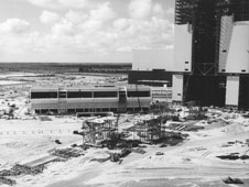 The Launch Control Center and Vehicle Assembly Building under construction.