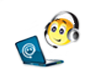 A cartoon showing a little yellow ball with a face and headphones looking into a laptop