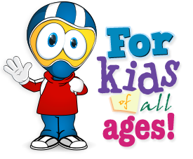 A cartoon character raises his hand in greeting beside the words For kids of all ages!