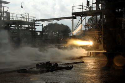 A 3-D printed rocket part blazes to life during a hot-fire test designed to explore how well large rocket engine components withstand temperatures up to 6,000 degrees Fahrenheit and extreme pressures, typical of the environments experienced by rocket engines.