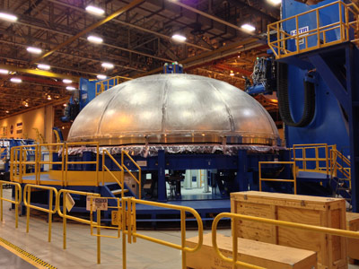 The second Space Launch System (SLS) core stage forward liquid oxygen (LO2) tank dome recently was completed on the Circumferential Dome Weld Tool at NASA's Michoud Assembly Facility.