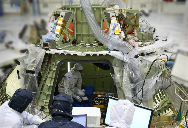 Orion's avionics system was installed on the crew module and powered up for a series of systems tests at NASA's Kennedy Space Center in Florida last week.