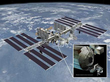 Artist's rendering of Rapidscat attached to the ISS.