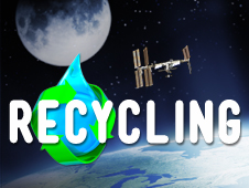 Earth, the space station and the moon with a drop of water surrounded by the recycle symbol