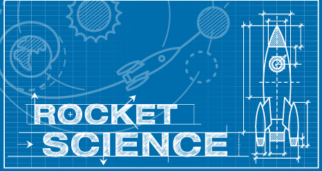 Rocket blueprint with the words Rocket Science