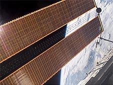 A view of the International Space Station's solar arrays