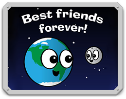 "Cartoon of Earth and the moon under the words ""Best Friends Forever"""