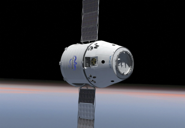 This is an artist concept of SpaceX's Dragon capsule in orbit.
