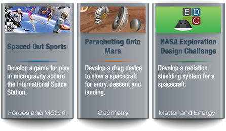 Three boxes with images, titles and descriptions of the challenges Spaced Out Sports, Parachuting Onto Mars and NASA Exploration Design Challenge