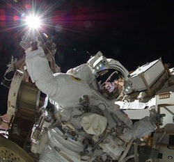 NASA astronaut Sunita Williams on a spacewalk outside of the International Space Station
