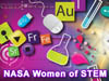 Flask and colorful science symbols