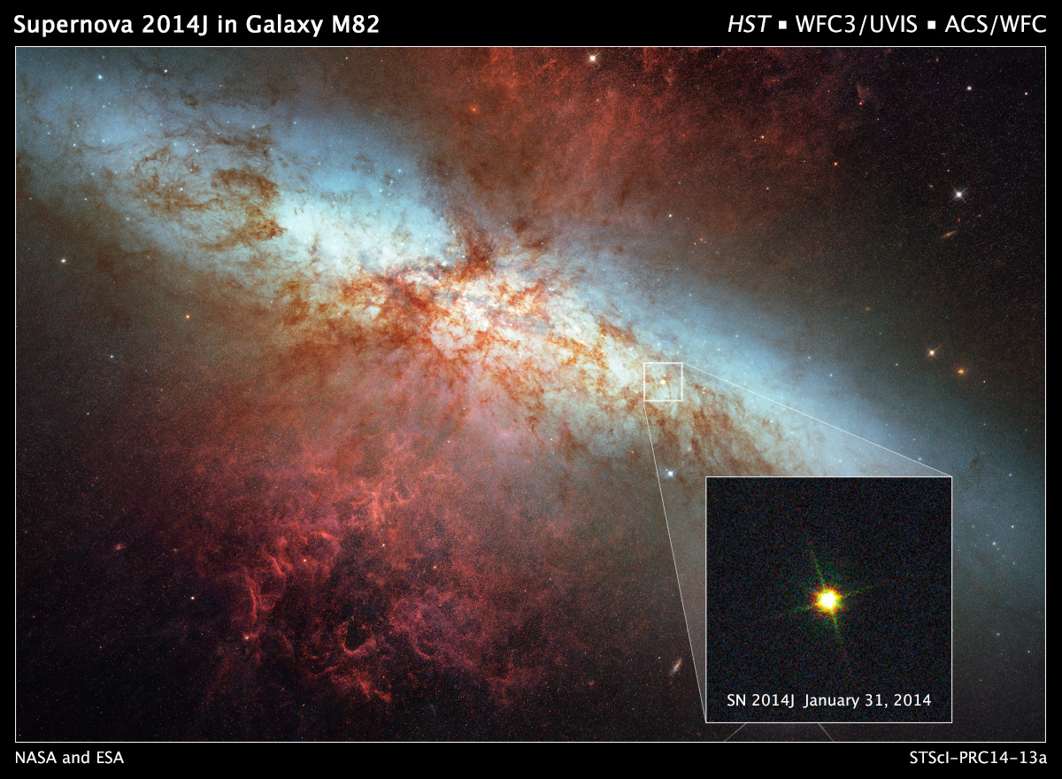 Hubble Monitors Supernova In Nearby Galaxy M82   NASA