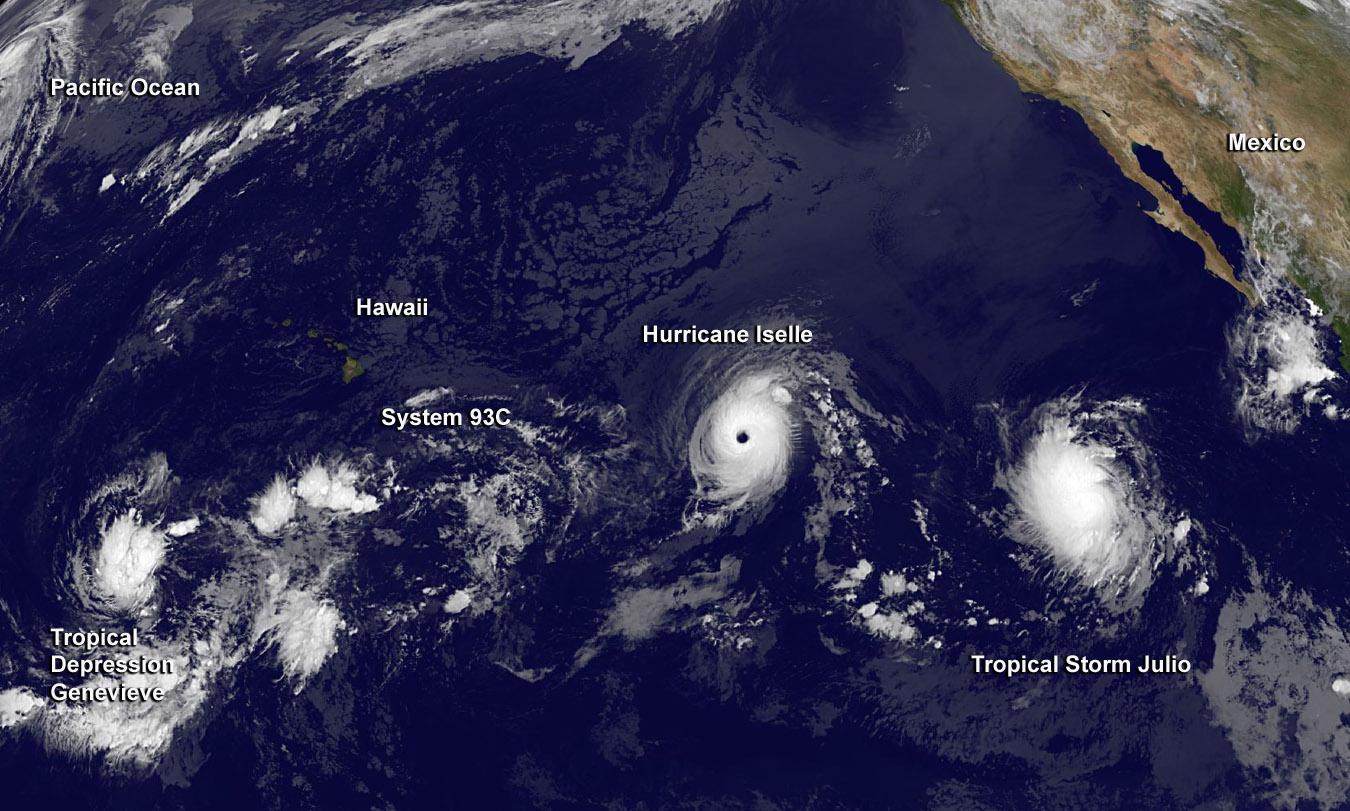 Pacific Ocean Satellite Weather Map.Genevieve Eastern Pacific Ocean Nasa