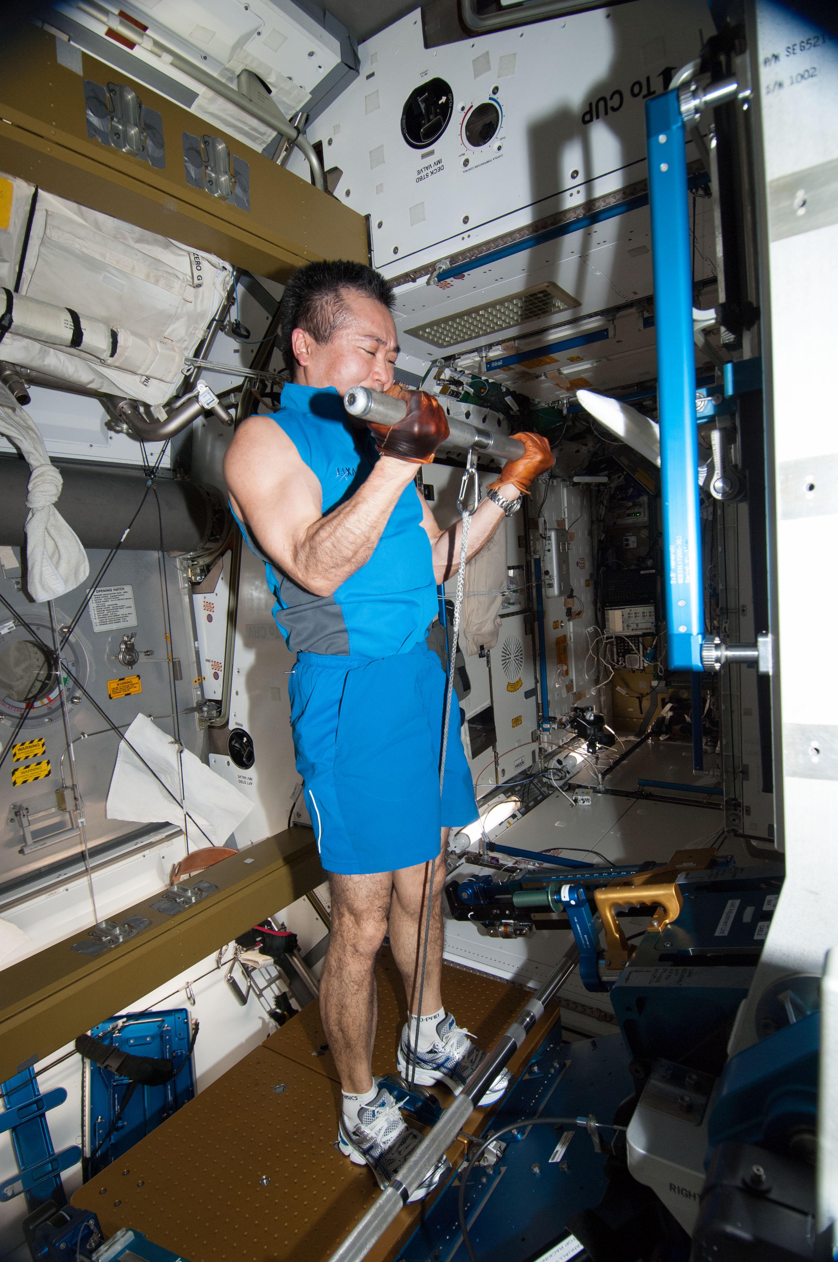 Koichi Wakata Gets a Workout | NASA