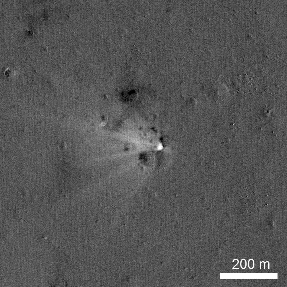 LRO has imaged the LADEE impact site on the eastern rim of Sundman V crater. The image was created by ratioing two images, one taken before the impact and another afterwards. The bright area highlights what has changed between the time of the two images, specifically the impact point and the ejecta.