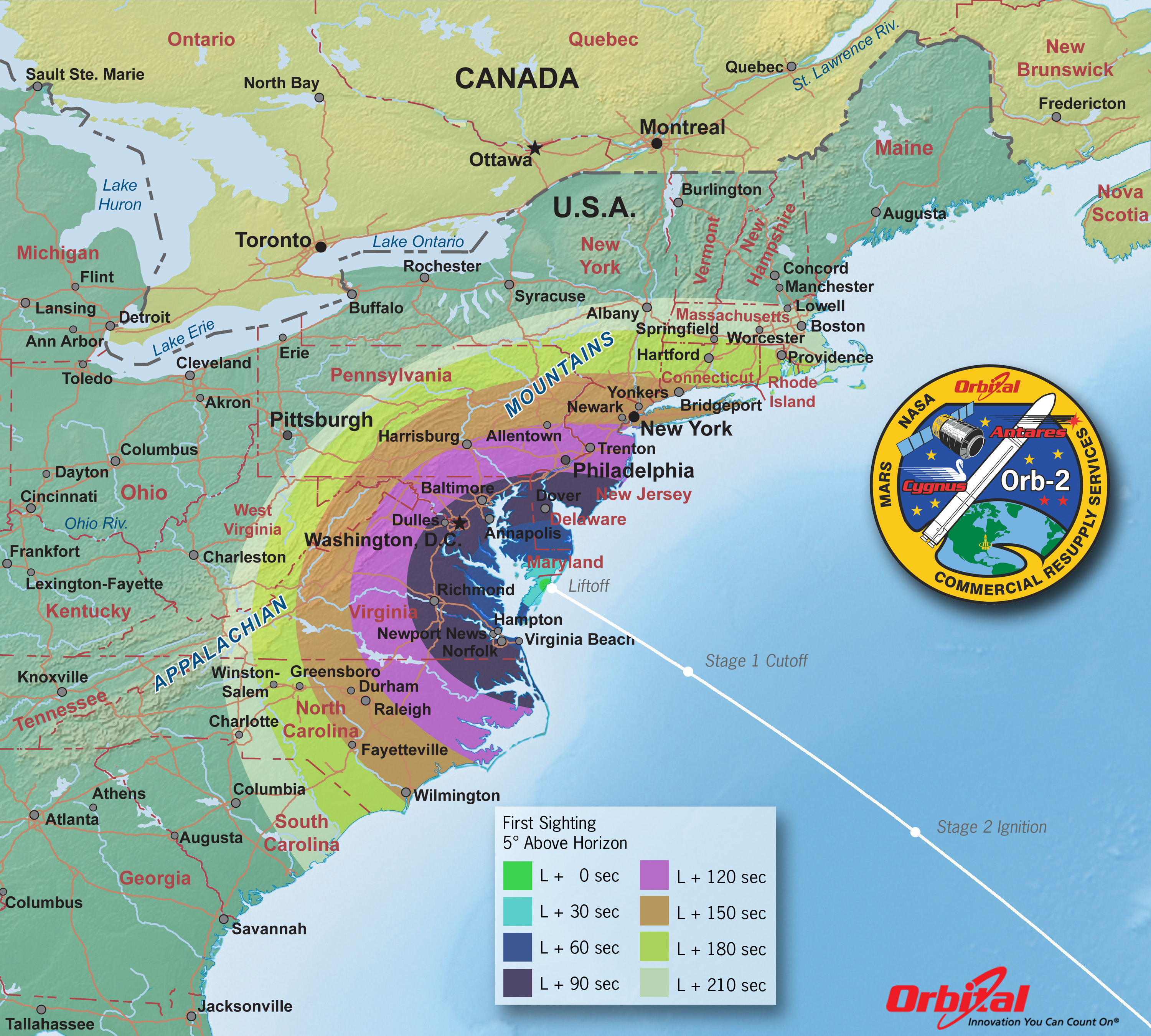 Launch Viewing Map First Sight NASA - Map of the us east coast