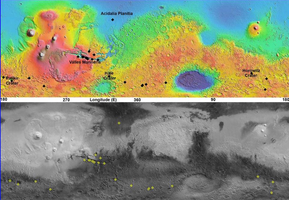 Maps of Recurrent Slope Linea Markings on Mars | NASA