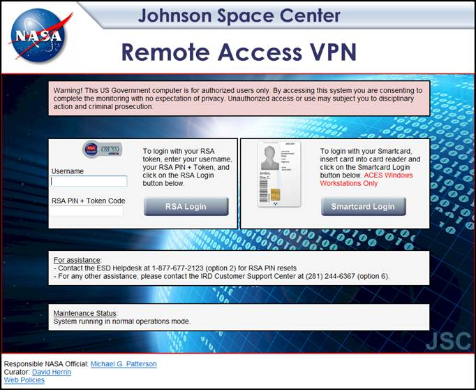 Remote Network Access - JSC and WSTF VPN Instructions for