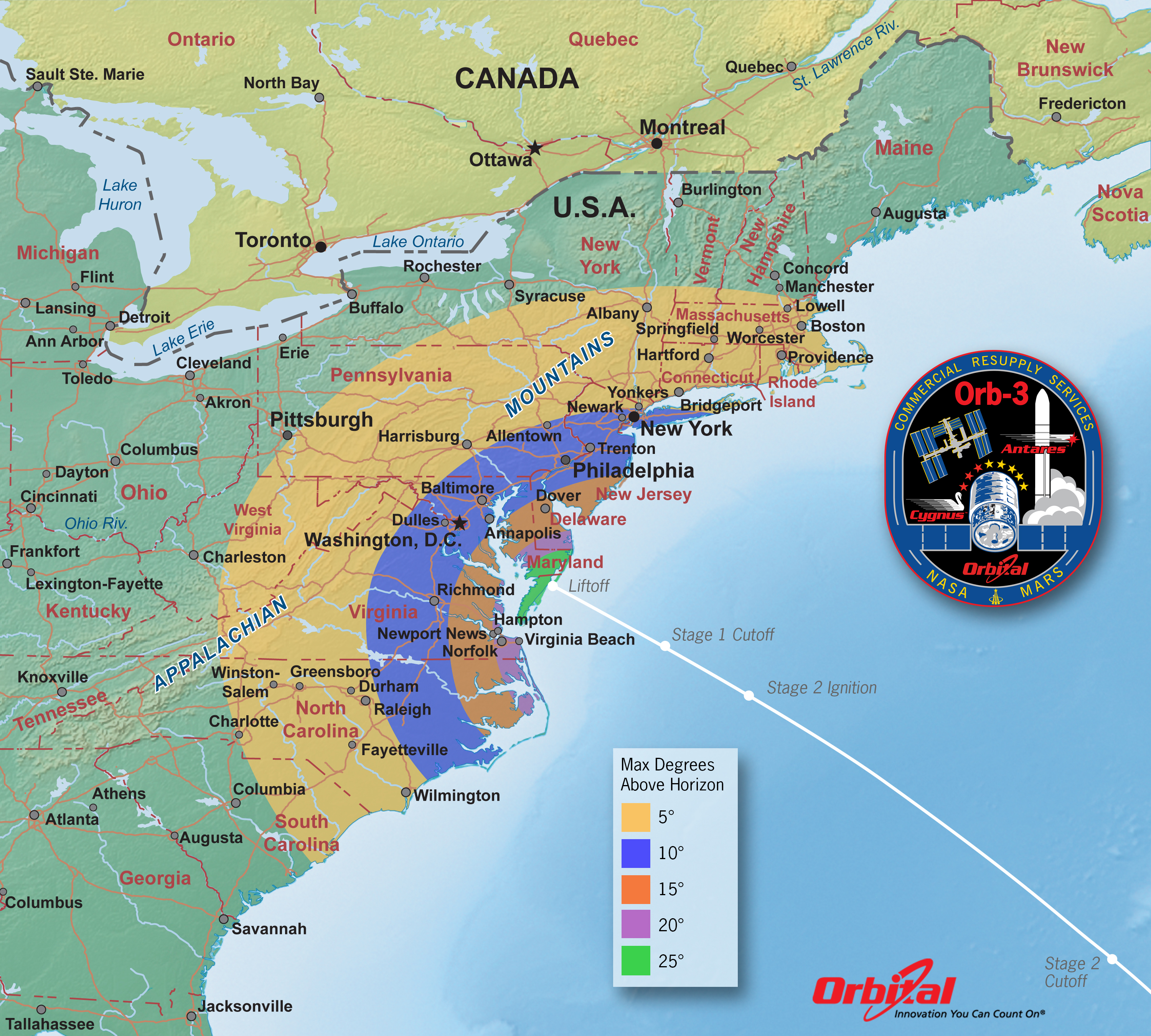 Orbital Launch Viewing Map Elevation NASA - Elevation map of us