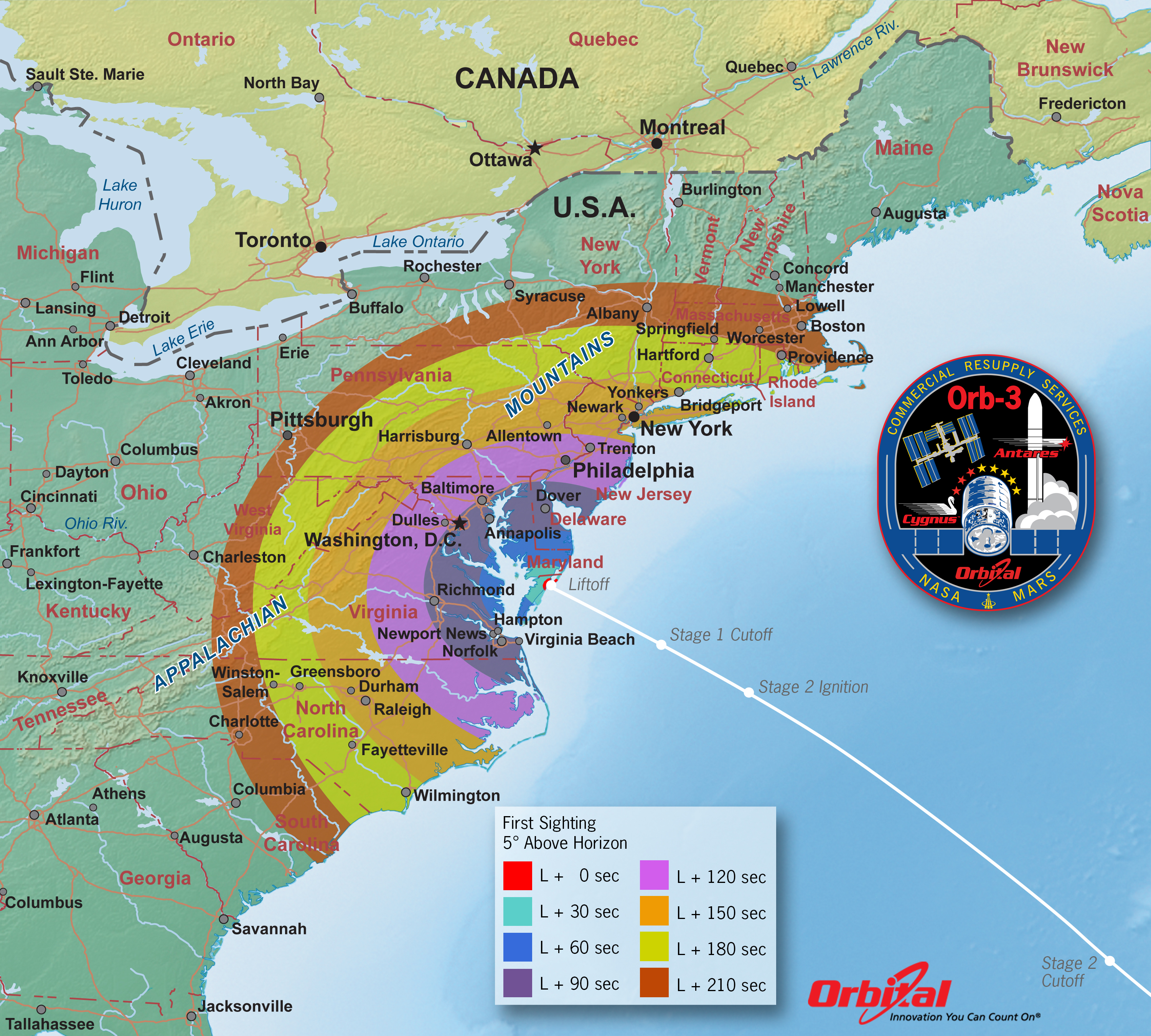 Orbital 3 Launch Viewing Map u2013 First Sight