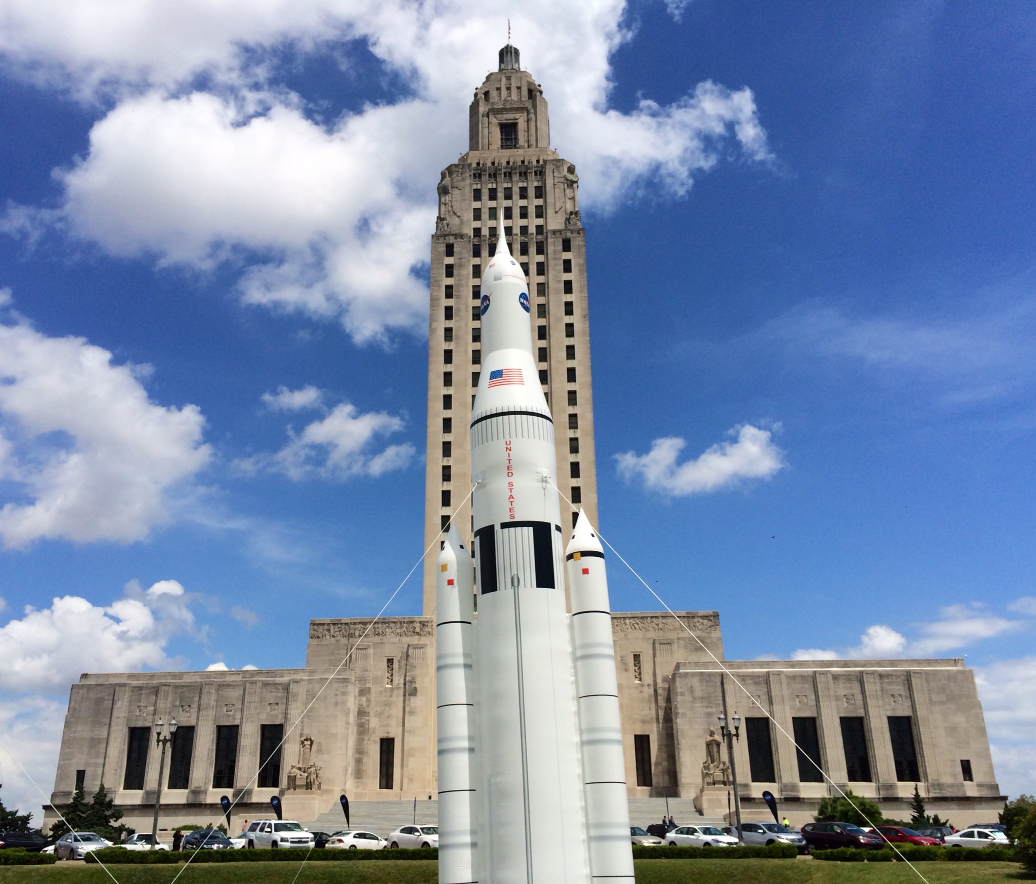 Nasas michoud assembly facility louisiana aerospace industry an inflatable model of nasas space launch system stands outside the louisiana state capitol in baton sciox Choice Image