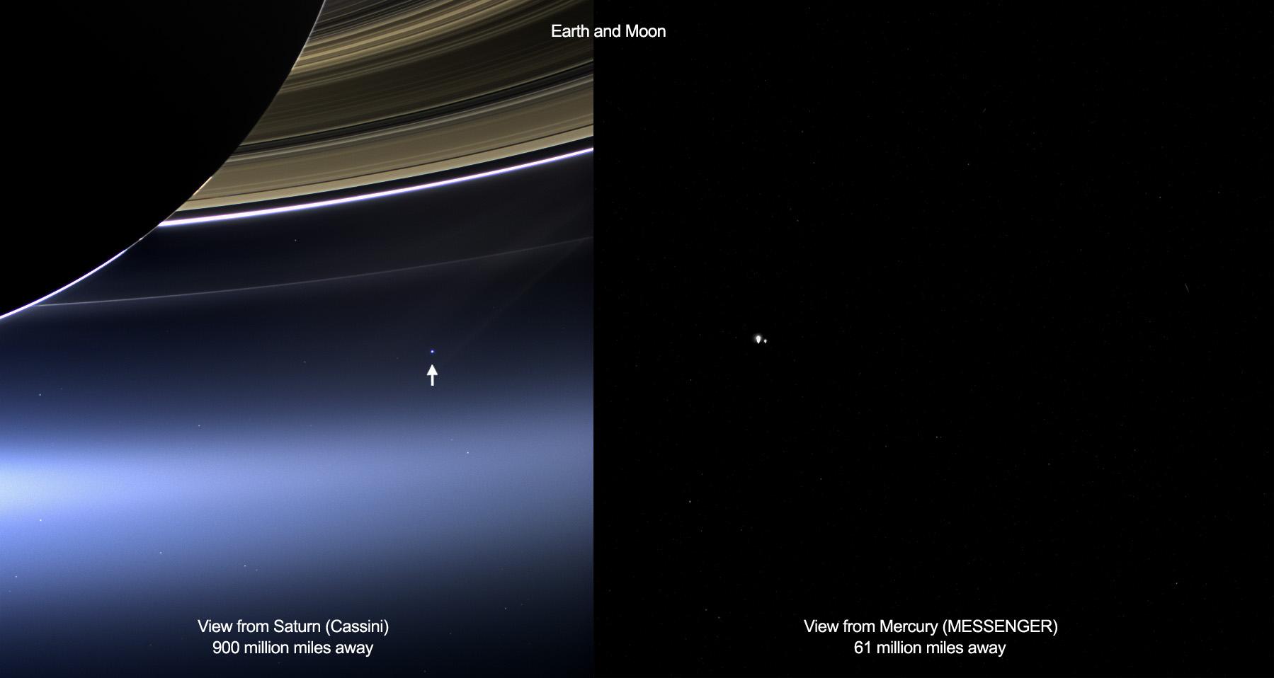 ภาพเหล่านี้แสดงมุมมองของโลกและดวงจันทร์จากCassiniของนาซ่า (ซ้าย) และยาน MESSENGER (ขวา) จาก 19 กรกฎาคม ค.ศ.2013