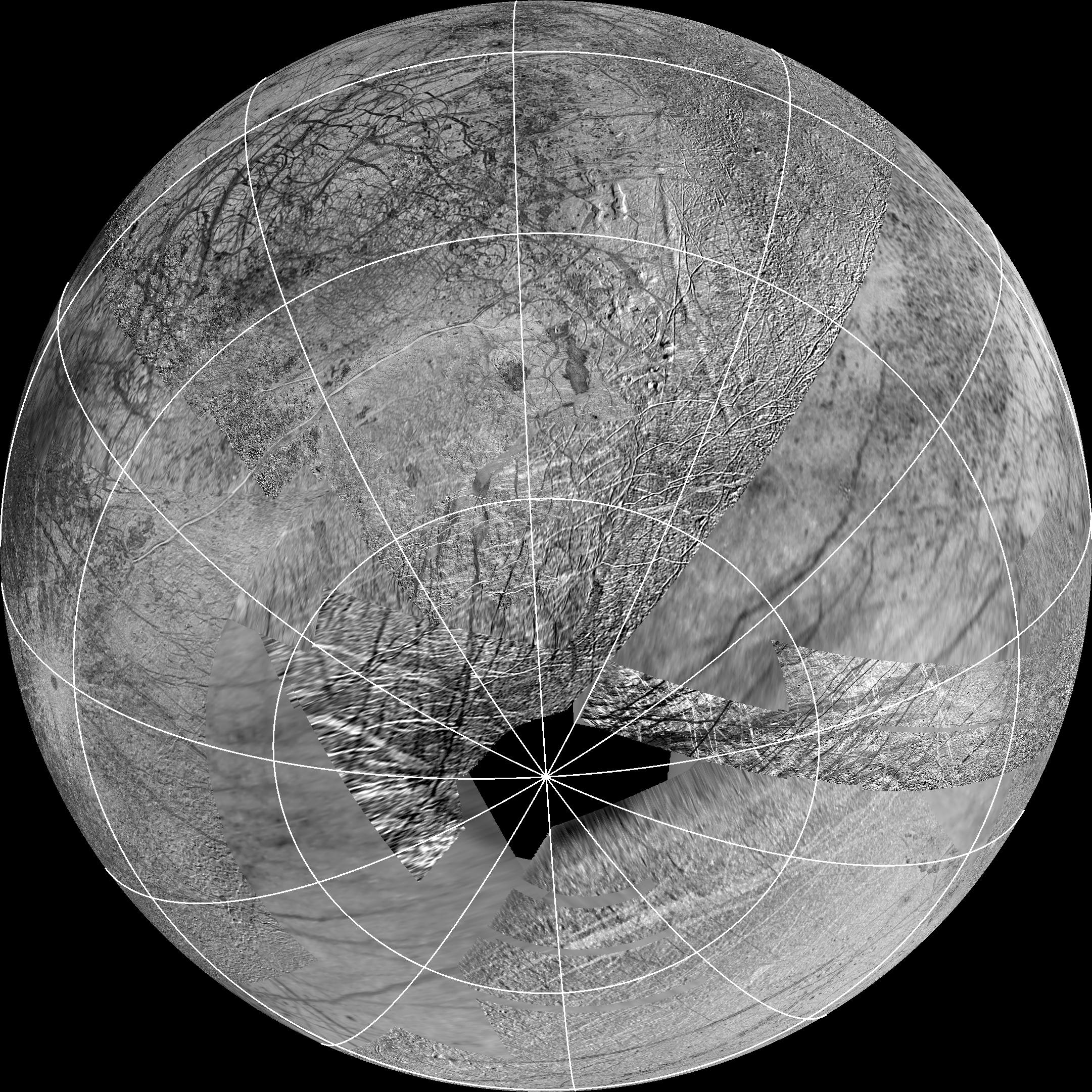 This Reprojection Of The Official Usgs Basemap Of Jupiter's Moon Europa Is  Centered At The Estimated