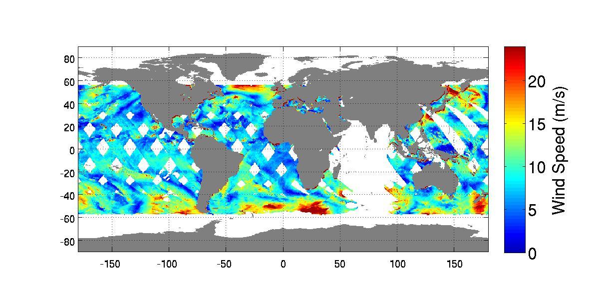 RapidScat kort over vinde på Jorden