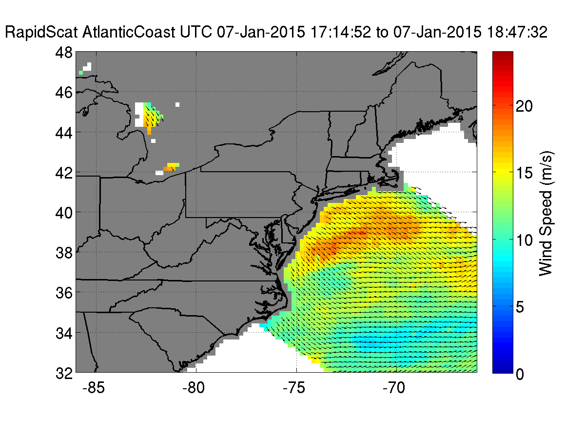 Nasa S Iss Rapidscat Looks At The Winds In U S East Coast S Wind Chill