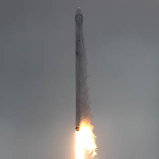 Liftoff of SpaceX Falcon 9 rocket with Dragon spacecraft