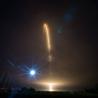 Orbital ATK Antares rocket streaks toward orbit after liftoff