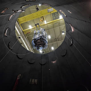 NASA's Parker Solar Probe descends into the thermal vacuum chamber at NASA's Goddard Space Flight Center.