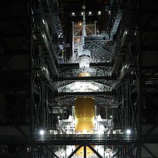 NASA Completes Mega-Moon Rocket Stacking, Invites Media to Learn More