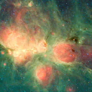 Image of cat's paw nebula taken by the Spitzer space telescope.