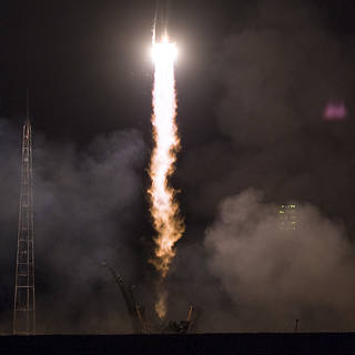 Oleg Artemyev of Roscosmos and Ricky rnold and Drew Feustel of NASA launched March 21, 2018 to the Space Station