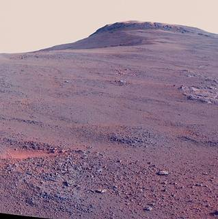 Panorama of Mars surface showing crest of crater rim