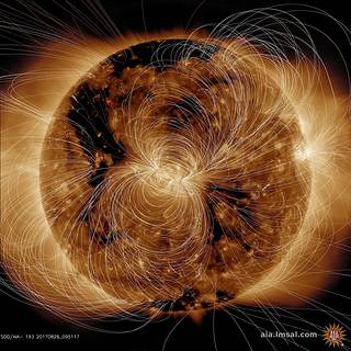 Image of Sun with magnetic field lines around the surface