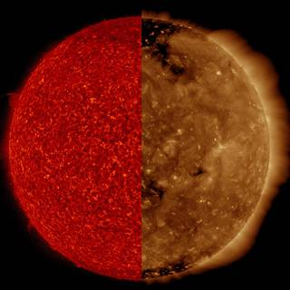 Our Sun in two wavelengths