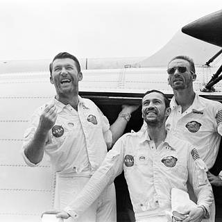 The Apollo 7 crew arrives aboard the USS Essex