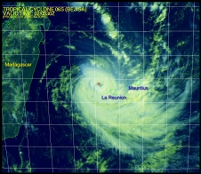 Tropical Cyclone Bejisa near La Reunion