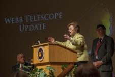 Sen. Barbara Mikulski, of Maryland, addresses employees at NASA Goddard as NASA Administrator Charles Bolden and Goddard Center Director Chris Scolese look on