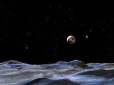 artist concept of Pluto and its moons, as viewed from one of the moons