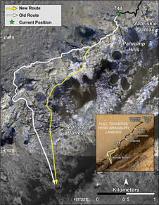 Old and new routes of NASA's Mars Curiosity rover