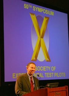 Dr. Michael Griffin, NASA Administrator speaks to the Society of Experimental Test Pilots (SETP).
