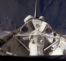 View of Spacelab-1 module in space shuttle Columbia's payload bay during STS-9.