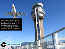 Airplane flying by a tower. NASA technology is on board every U.S. commercial aircraft and air traffic tower.