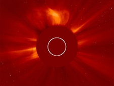 The Halo coronal mass ejection (CME) as viewed by the Solar and Heliospheric Observatory coronograph.